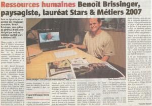 Ressources humaines - Benoit Brissinger, paysagiste, lauréat Stars & Métiers 2007